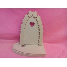 4mm MDF Holly arch fairy with heart window  door pack of 5